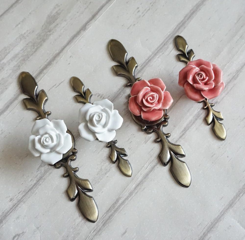 Ceramic Rose Knobs Drawer Pulls Handles Back Plate Pink