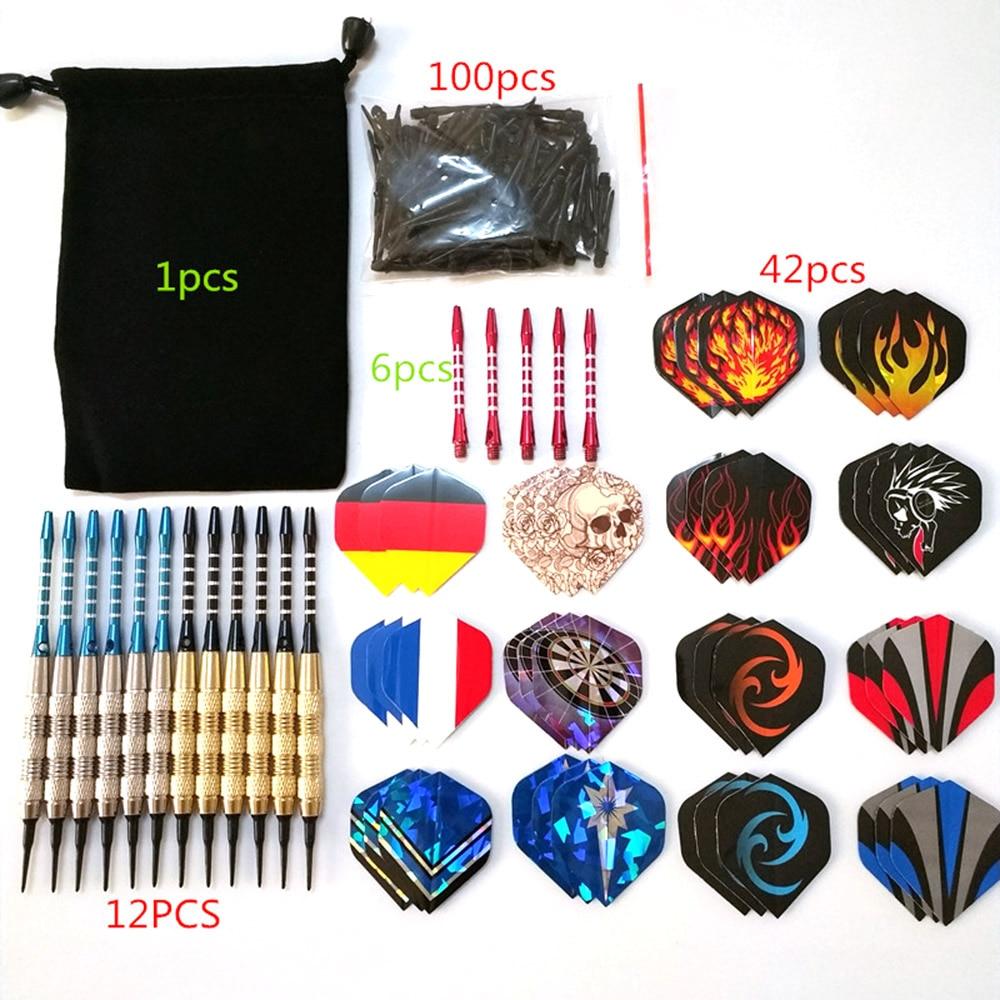 12Pcs 18g Professional Safe Dart Set Soft Plastic Tip Aluminum Shaft Training Dart With Extra 30Pcs Flight 100Pcs Tip 6Pcs Shaft