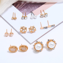 9 Pairs/Set Bohemia Earrings Set Fashion Gold Color Geometric Elegant Crystal Stud For Women Wedding Jewelry 2019