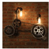 Loft Style Antique Gear Water Pipe Lamp Industrial Vintage LED Wall Light Fixtures Bedside Edison Wall Sconce Indoor Lighting