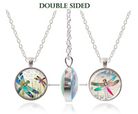Dragonfly Collar Chokers Necklace Dragonfly Pendant Double Faced Art Iamge Glass Cabochon Pendant Long Chain Women