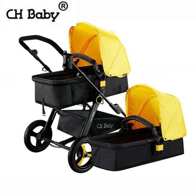 CH baby 2 in 1 aluminum alloy frame baby stroller infant bassinet fold baby pram make easy life for mama black or white frame