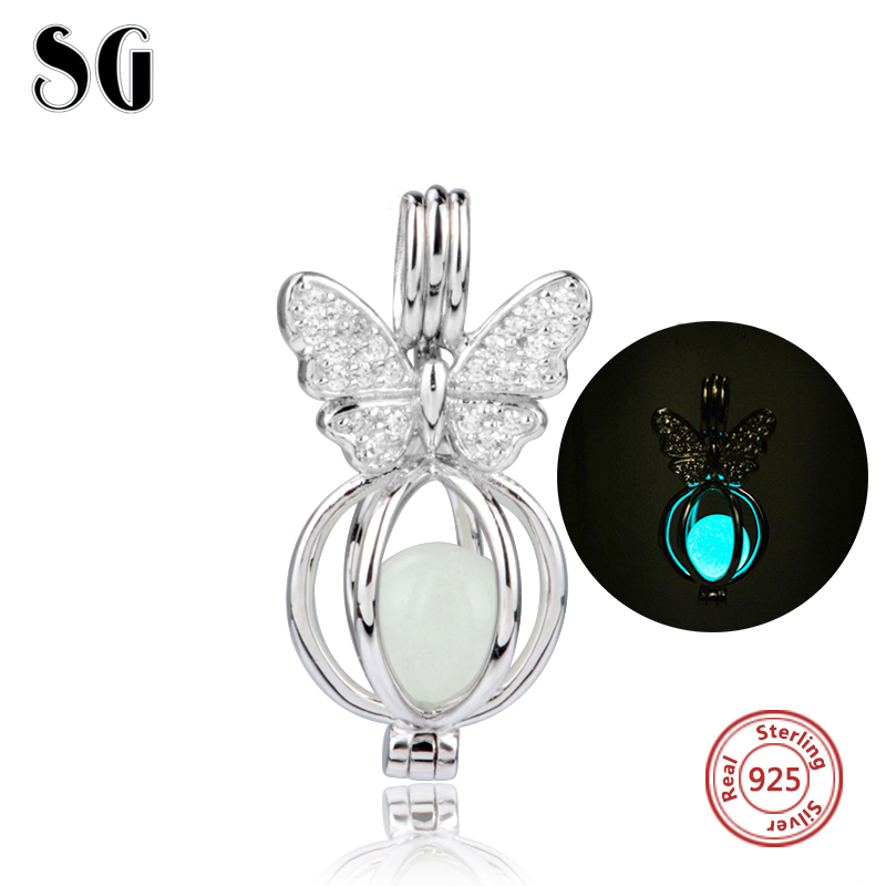 Silver 925 Original glowing Butterfly Charms Antique Fluorescence Beads Fit Authentic Pandora Bracelets Pendant Jewelry Gifts цена