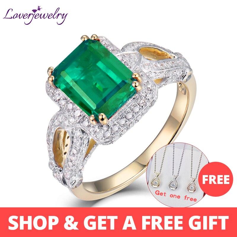 FleißIg Loverjewelry Frauen Ringe Heißer Verkauf 2.55ct Natürliche Diamant Smaragd Ring Solide 14kt Gelb Gold Ring Smaragd Schmuck Für Mom Geschenk Lange Lebensdauer