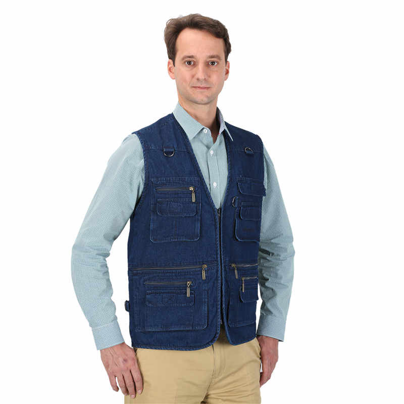 8bd7e65adbb ... Denim Vest Men Cotton Sleeveless Jackets Blue Casual Fishing Vest with  Many Pockets Plus Size 10XL ...