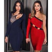 2017 New Women Winter Bandage Dress Fashion One Shoulder Long Sleeve Dress Celebrity Vestidos Sexy Club