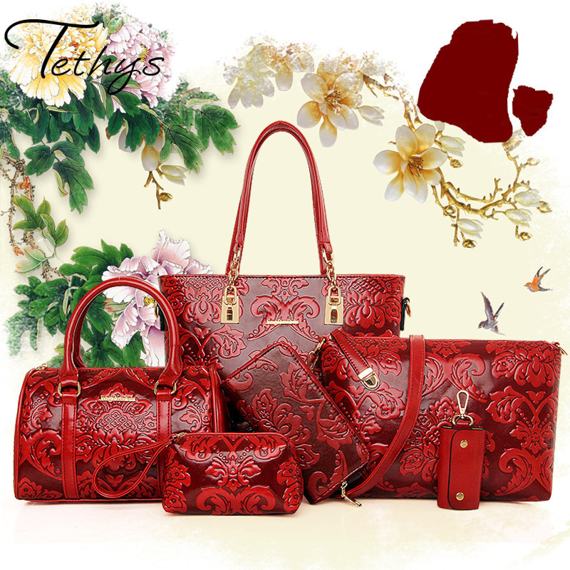 Women Bags font b Set b font 6 pcs Chinese Style Bag font b Handbag b