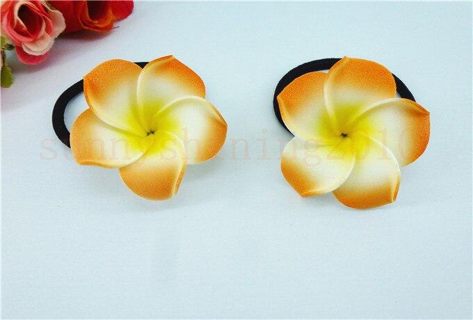 Цветочные украшения для волос ленты для волос пена Гавайский цветок Плюмерия эластичный Гавайский ФРАНЖИПАНИ лента для волос Веревка для волос - Цвет: Оранжевый
