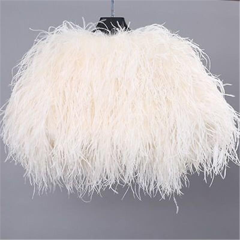 Luxurious Ostrich Feather Bridal Fur Shawl Marriage Shrug Coat Bride Winter Wedding Party Boleros Feather Wedding Cape (5)