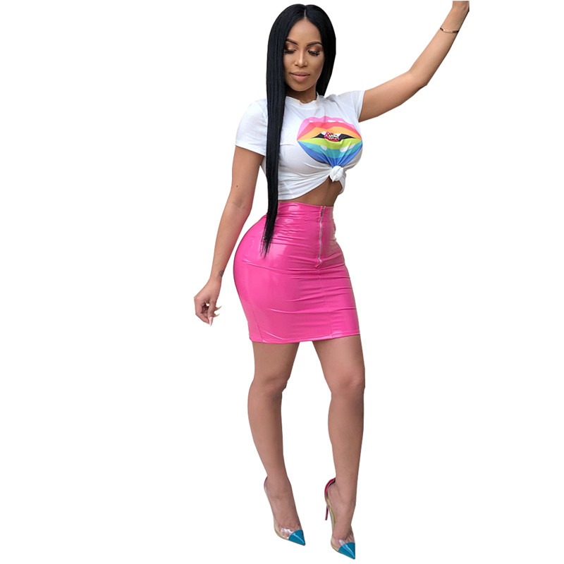 ea708ae51b29 Adogirl Women 2 Piece Sets Colorful PU Leather Skirt Print Short Sleeve  Crop Top T Shirts Sexy Club Wear