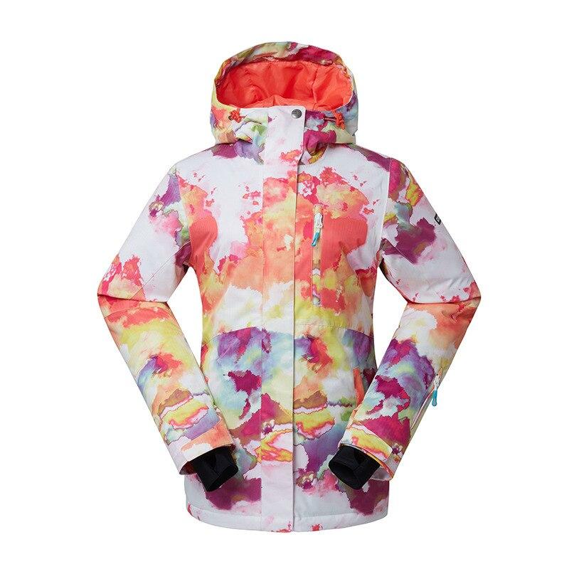 GSOU SNOW Outdoor Women's Ski Suit Windproof Waterproof Wear-resisting Warm Ski Jacket Snow Cotton Clothes Size XS-XL