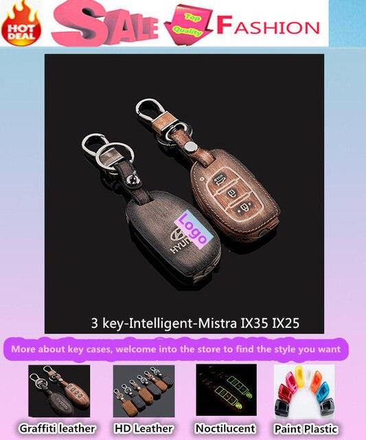 Para Hyunda1 Mistra IX35 IX25 keys bolsa casos de Cuero cubierta car styling detector inteligente/plegable Graffiti especial