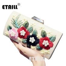ETAILL Luxury Designer Flower Evening Clutch Bag For Women Sparkling Ladies Bags Chains Clutches Purse Mini Shoulder