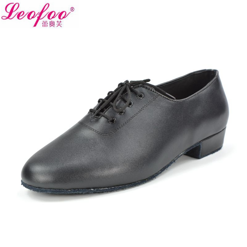 Men's dance shoes Latin Jazz shoes Cowhide leather black direct manufacturers with high 2.5 cm NM2