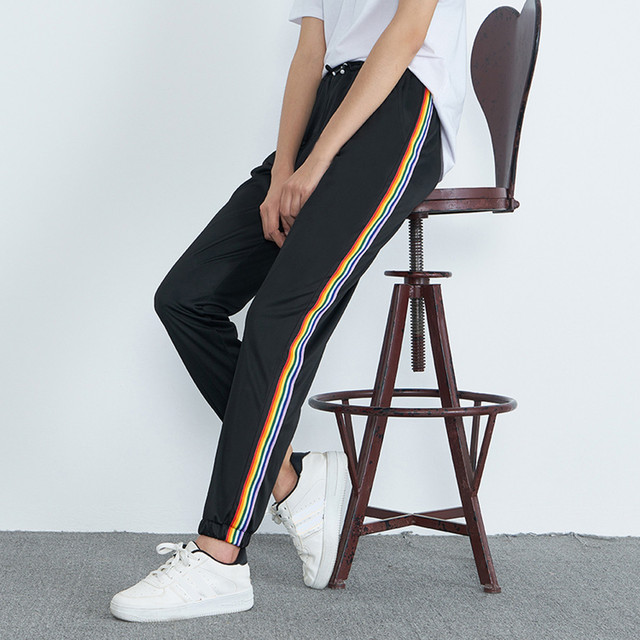 Womens Mid-Waist Casual Striped Print Sports Pants Harem Pants Jogger Pants 2018 Black Pencil Pants Streetwear Loose Women