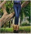 2016 New Arrival Nova Stonewashed Calça Jeans de Algodão Para As Mulheres Outono E Inverno Com Botas de Veludo Calças Jeans Femininas Elástico Fino
