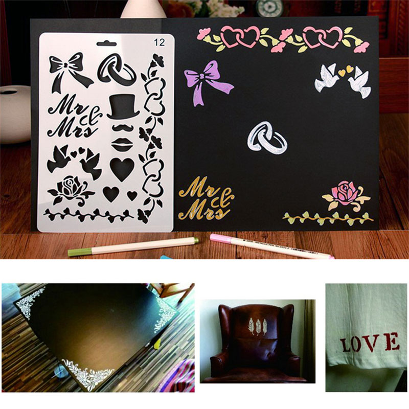 2017 Wall Painting Stencil Bow Vintage Pattern Reusable Paint Scrapbooking DIY Decor MAR15 15