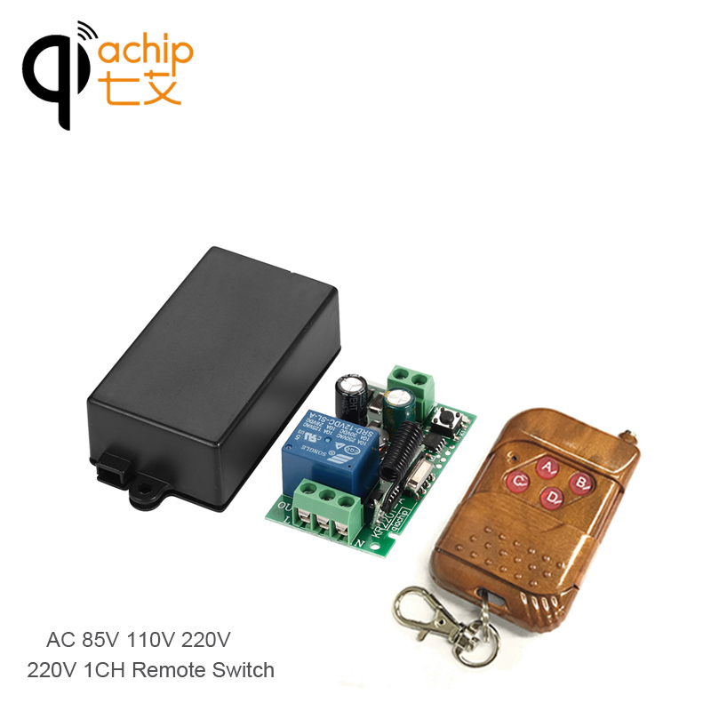 AC 110V 220V <font><b>1CH</b></font> <font><b>RF</b></font> <font><b>433</b></font> Mhz Wireless Remote Control Switch Learning Code 1 Relay Lamp Light Controller <font><b>433</b></font>.92Mhz superheterodyne image