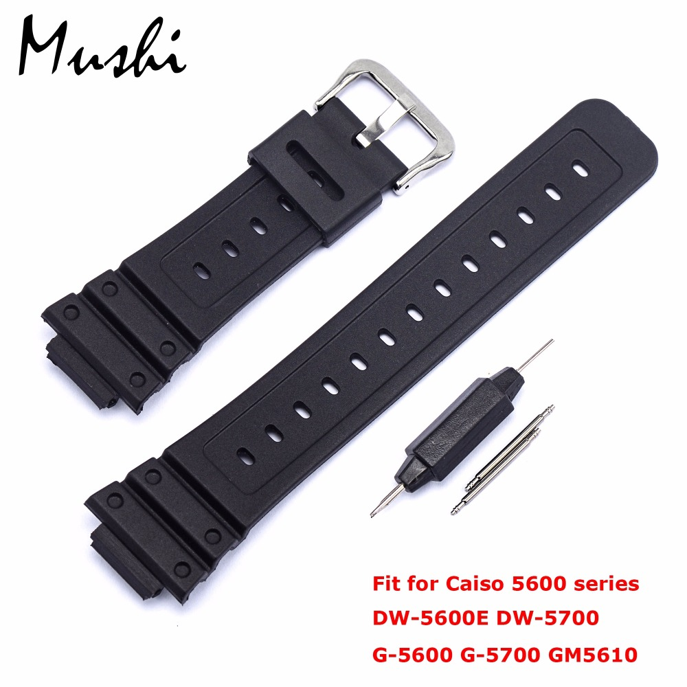Watchband for Casio 5600 Series <font><b>DW</b></font>-5600E <font><b>DW</b></font>-<font><b>5700</b></font> G-5600 G-<font><b>5700</b></font> GM5610 Watchband Pin Buckle Watch band Wrist Bracelet Black+Tool image