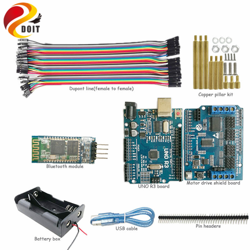 DOIT 1 set Bluetooth Control Kit for Robot Smart Crawler Tank Car Chassis with Arduino UNO R3 Board for Arduino kit DIY