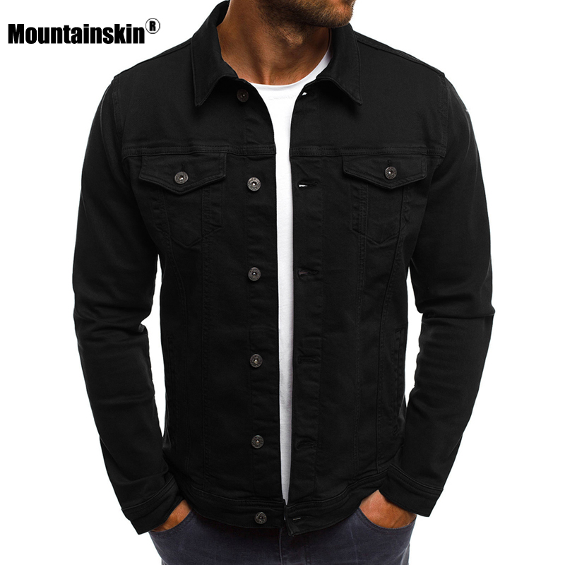 Mountainskin New Men's Autumn Spring Jean Jackets Slim Fits Denim Solid Color Male Coats Men Cowboy Fashion Brand Clothing SA740