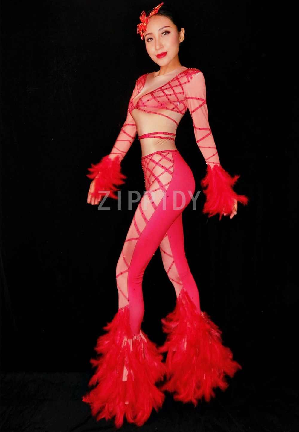 ... 2018 Red Rhinestones Bandage Printed Stretch Jumpsuit Sexy Feather  Bodysuit Female Singer Outfit Nightclub Women s Party ... 14b55d6644d5