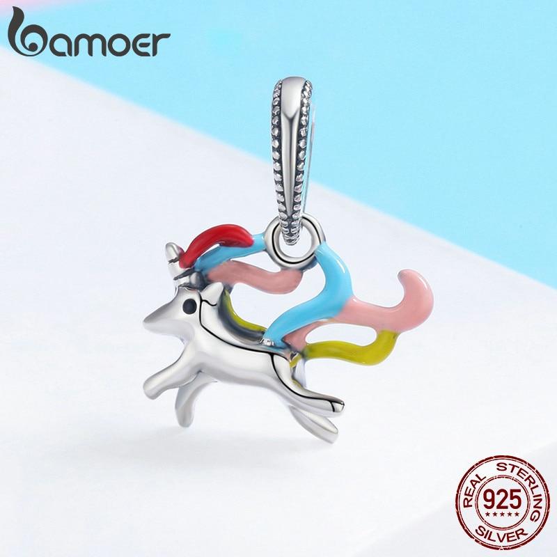 BAMOER Authentische 100% 925 Sterling Silber Bunte Speicher Charme Anhänger fit Frauen Charme Armband DIY Schmuck SCC502