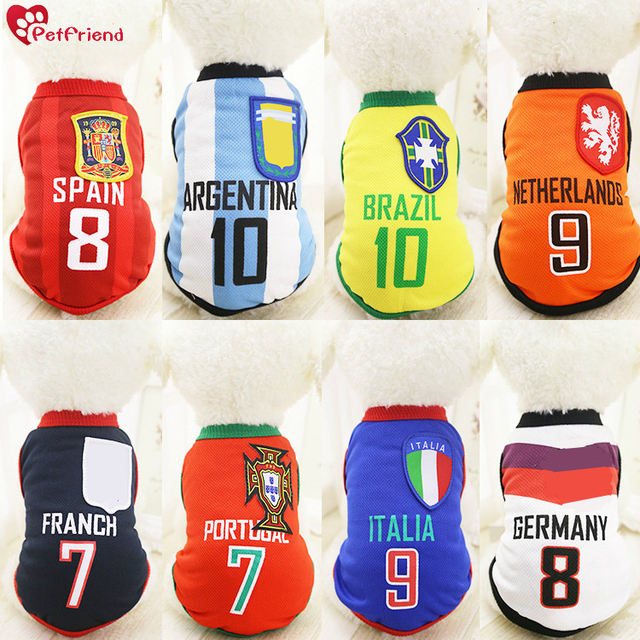 Cat Dog Shirt World Cup Soccer Jersey Pet Vest Football National Team  Sports Wear NBA Clothes for Dogs Breathable XS-XXL a7887d47a