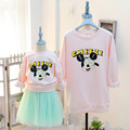 2016 new spring autumn cute cartoon printed  long-sleeve mom daughter son family matching mother and daughter clothes outfits
