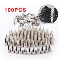 100pcs Screwback Bullet Stud Spike Belt Bag Leathercraft Clothes Rivet Silver for Cloth Bag Decoration Sale FP8