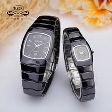 Роскошные мужские женские настоящий черный Керамика наручные часы кварцевые квадратный оригинальные мужские и женские любит часы Повседневная Водонепроницаемая diamond