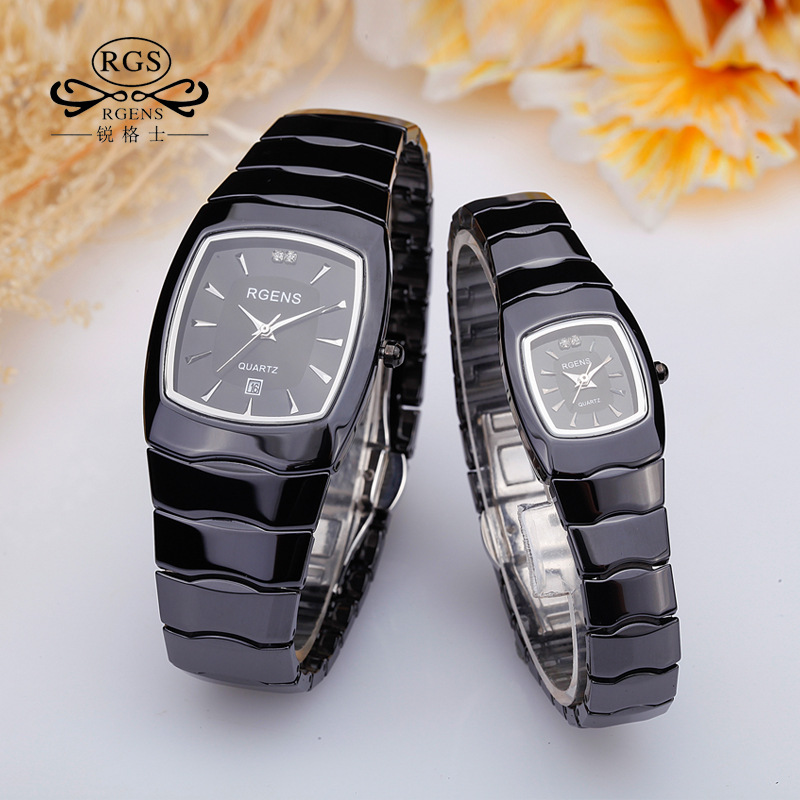 Luxury Mens Womens Real Black Ceramics Wrist Watches Quartz Square Original Ladies Male Loves Clocks Casual Waterproof Diamond