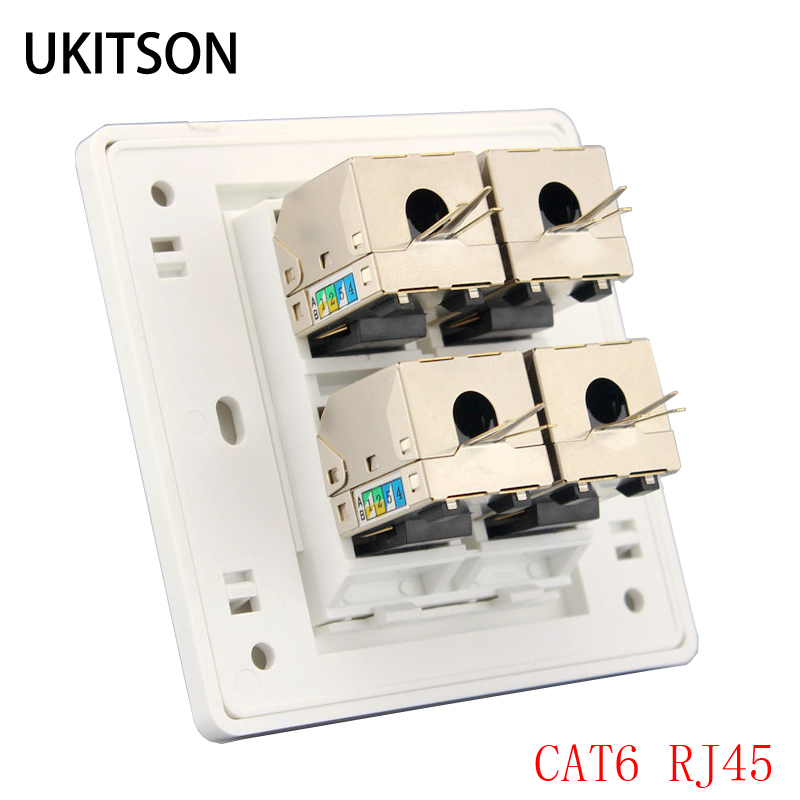 цена на 4 Ports Shield CAT6 RJ45 UTP Socket Wall Panel Faceplate 86x86mm For Computer Router Laptop Plug