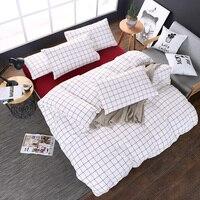 สไตล์โมเดิร์สีขาว+สีแดงลายสก๊อตแบบ1ชิ้นผ้าปูเตียงผ้าคลุมเตียงผ้าคลุมเตียงที่นอนหมอนมุ้ง...