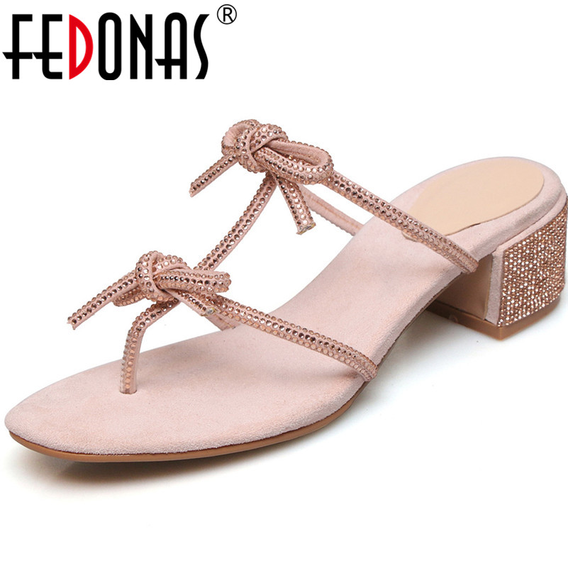 FEDONAS Sandals For Women New Fashion Rhinestone Bling Bling Square Heels Summer High  Shoes Woman Fashion  Wedding Party ShoesFEDONAS Sandals For Women New Fashion Rhinestone Bling Bling Square Heels Summer High  Shoes Woman Fashion  Wedding Party Shoes