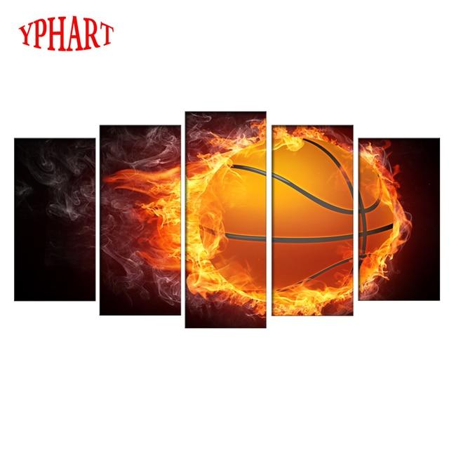 Sans cadre 5 pcs flamme basket ball photo print peinture moderne toile dart