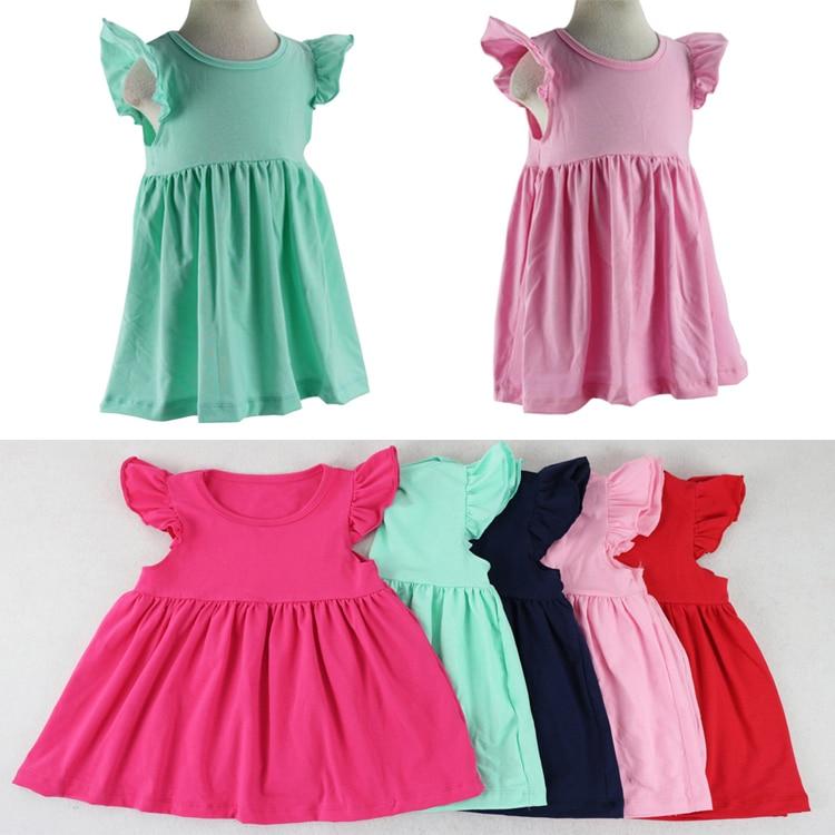 Summer Cotton Children Cute Princess Dresses Baby Girl Dress Fashion Flutter Dress Clothing 5 Colors Baby Dresses