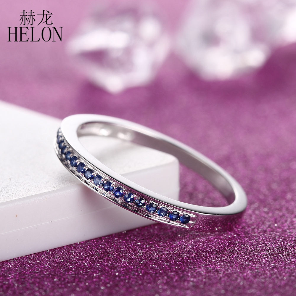 HELON Sterling Silver 925 100% Genuine Natural Sapphire Engagement Ring Wedding Band Ring For Women Fine Jewelry TrendyHELON Sterling Silver 925 100% Genuine Natural Sapphire Engagement Ring Wedding Band Ring For Women Fine Jewelry Trendy