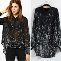Women long sleeve star printed shirt irregular long blusas femininas plus size whtie and black Free shipping