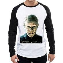 Hellraiser T-Shirt White Color Mens Fashion Long Sleeve Movie Pinhead T-shirt Tops Tees tshirt Full T shirt