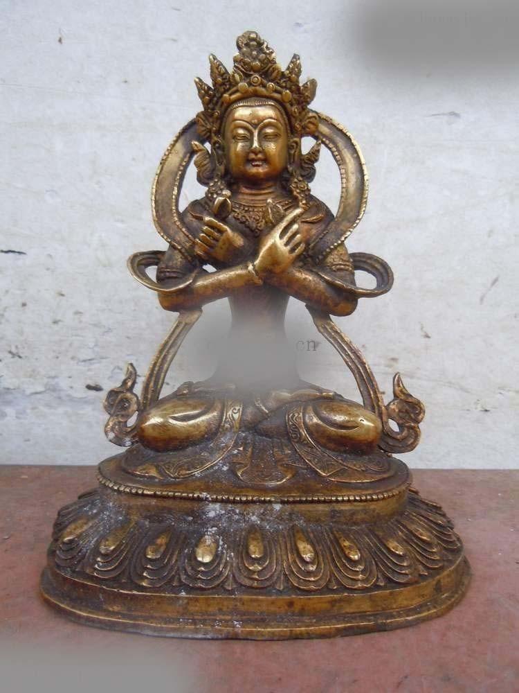 DS 9 China bronze gild carved finely Buddhism Vajradhara buddha Sculpture statue