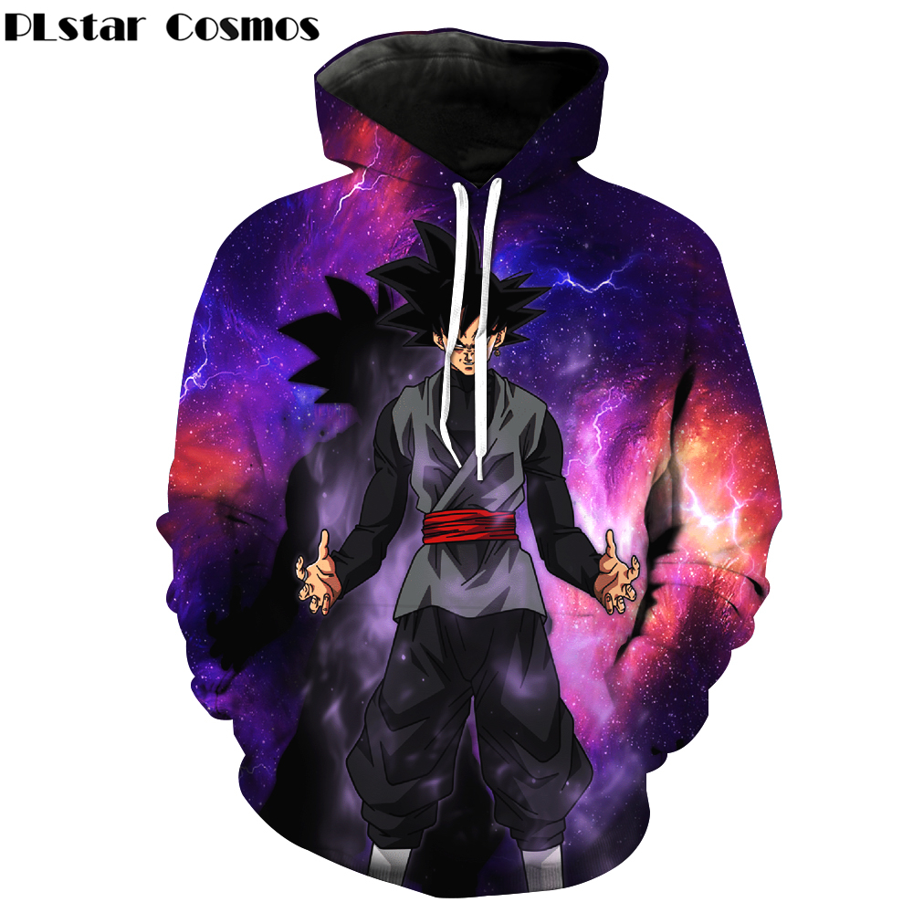 PLstar Cosmos 2018 New Women/Men Pocket Hooded Sweatshirts Cool Black Goku Prints Hoodie Galaxy Dragon Ball Z Hoodies Pullovers