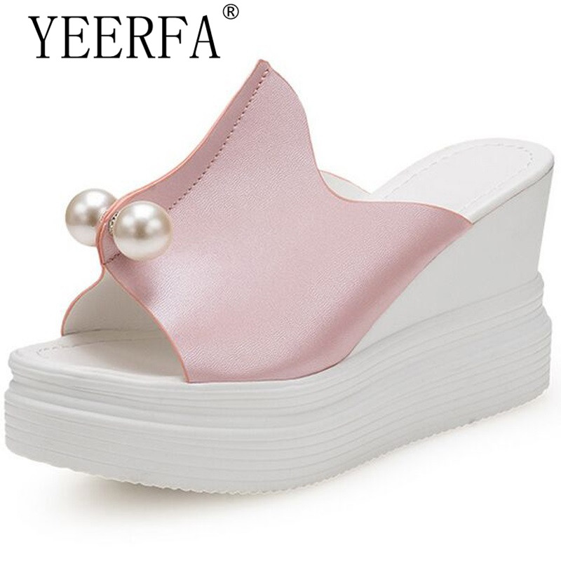 YEERFA 2018 Ultra high heels beach slippers summer wedges platform pearl sandals flip flops women shoes Blue pink EUR 35-39