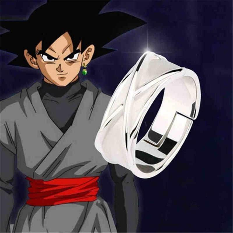 Dragon Ball Z Goku Gogeta Tempo Anel Cosplay Prop Preto Escuro Modelo de Brinquedo Anel Ajustável