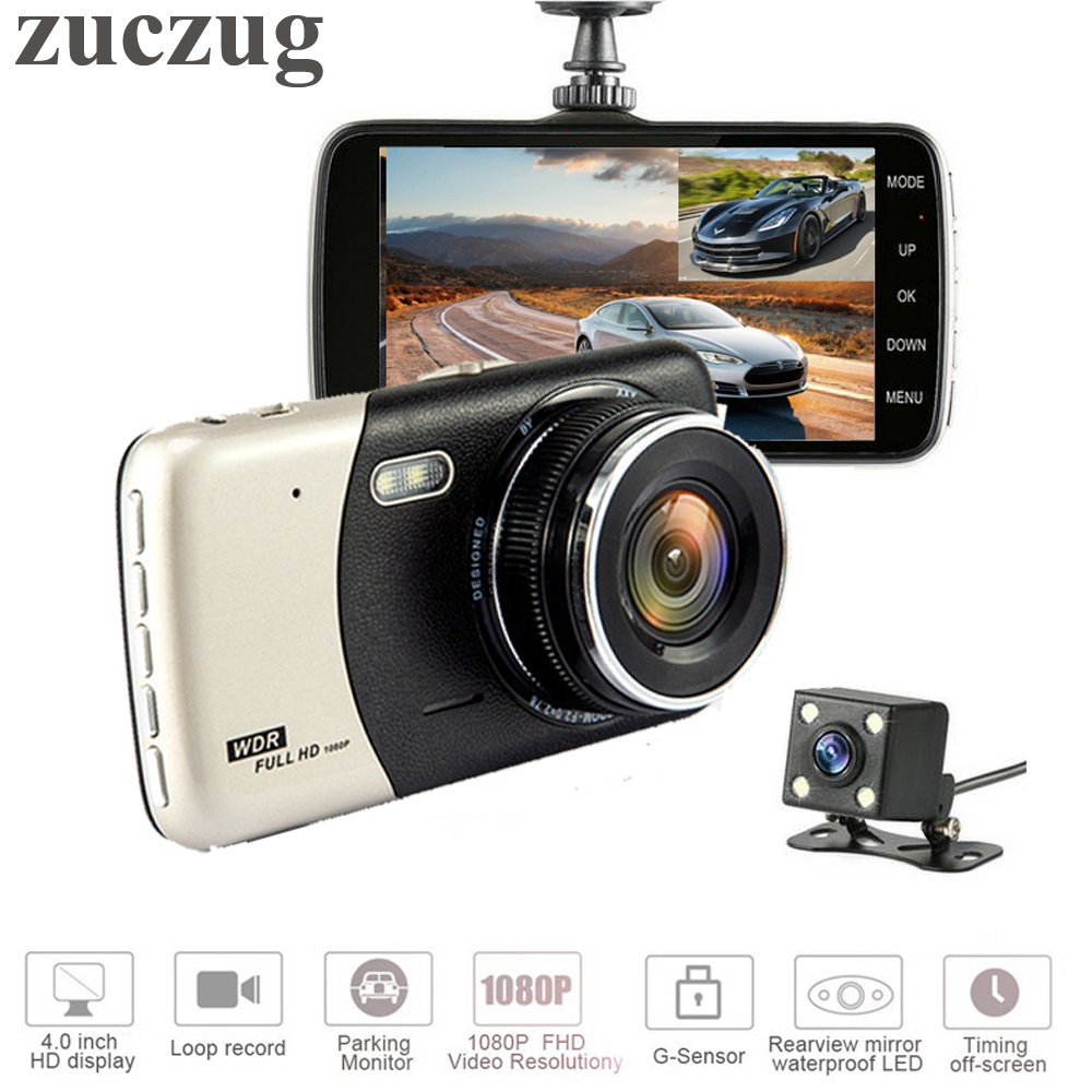 ZUCZUG Highly recommended Mini Car DVR 4 Dual Lens Video Recorder Parking Car Camera Full HD 1080P WDR Dash Cam BlackBox