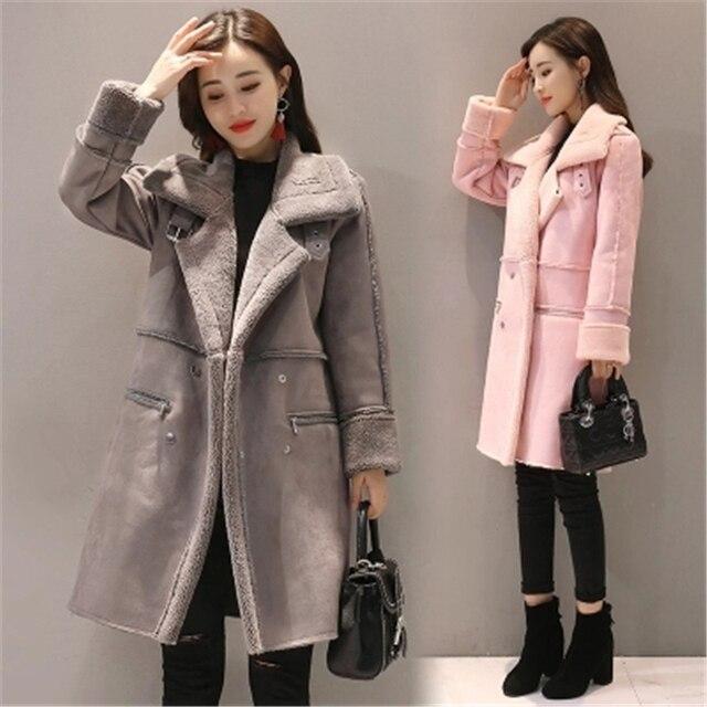 4e583ffc778 2018 Winter Woman Shearling Coats Faux Suede Leather Jackets Plus Size  Loose Parka Medium Long Faux Lambs Wool Coat S-2XL L971