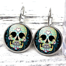 New Mexico Colorful Flower Pattern Sugar Skull Earrings Female Ornaments Dead Jewels for Easter Halloween Day Role Playing Gift