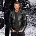 2016 Beckham Estilo Clásico Motor de Motocicleta ciclismo Chaquetas de Los Hombres Delgado Masculino de Cuero REAL Chaqueta de Montar Moto Ropa de Los Hombres