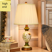 Retro Rural Pastoral European Hand Painted Resin Fabric Led E27 Table Lamp For Living Room Bedroom