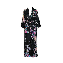 New Women Sexy Satin Robe Print Floral Nightwear Lingerie Female Casual Kimono Bathrobe Gown Peacock Sleepwear